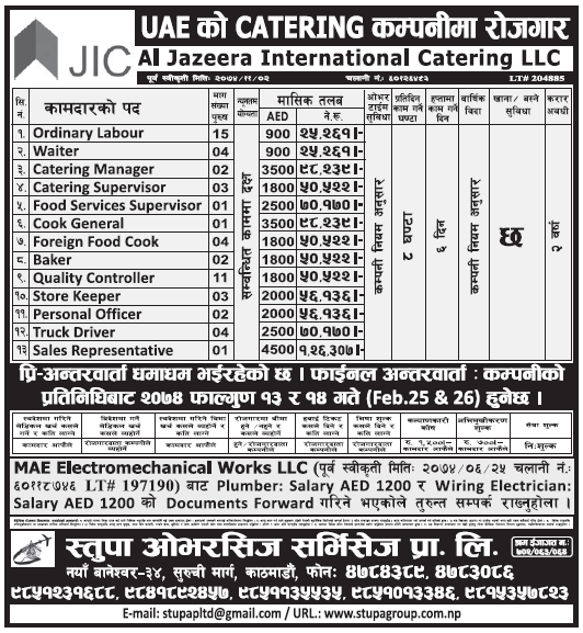 Jobs in UAE for Nepali, Salary Rs 1,26,307