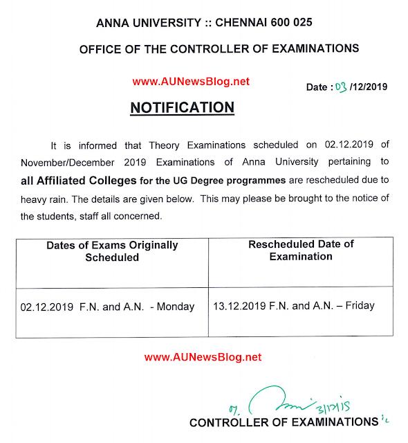 Anna University postponed Exams Rescheduled date for Nov Dec 2019