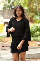 Actress Hebah Patel Stills in Black Mini Dress at Angel Movie Teaser Launch  0022.JPG