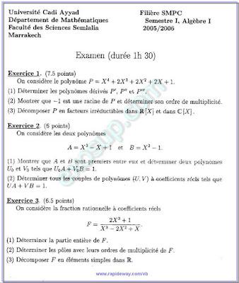 des examens Algèbre 1 smpc s1