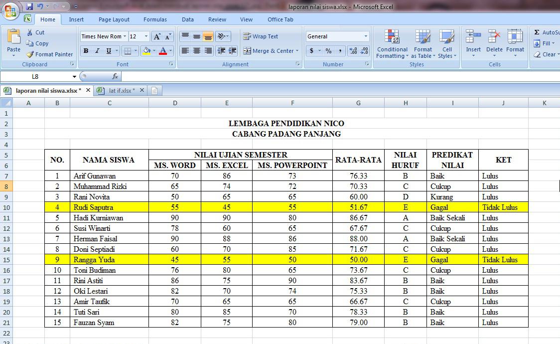 tabel, nilai, laporan, rumus, microsoft, excel, siswa, warna, belajar, cara