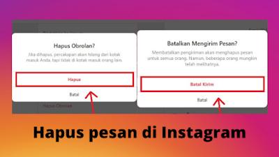 Cara menghapus pesan di Instagram