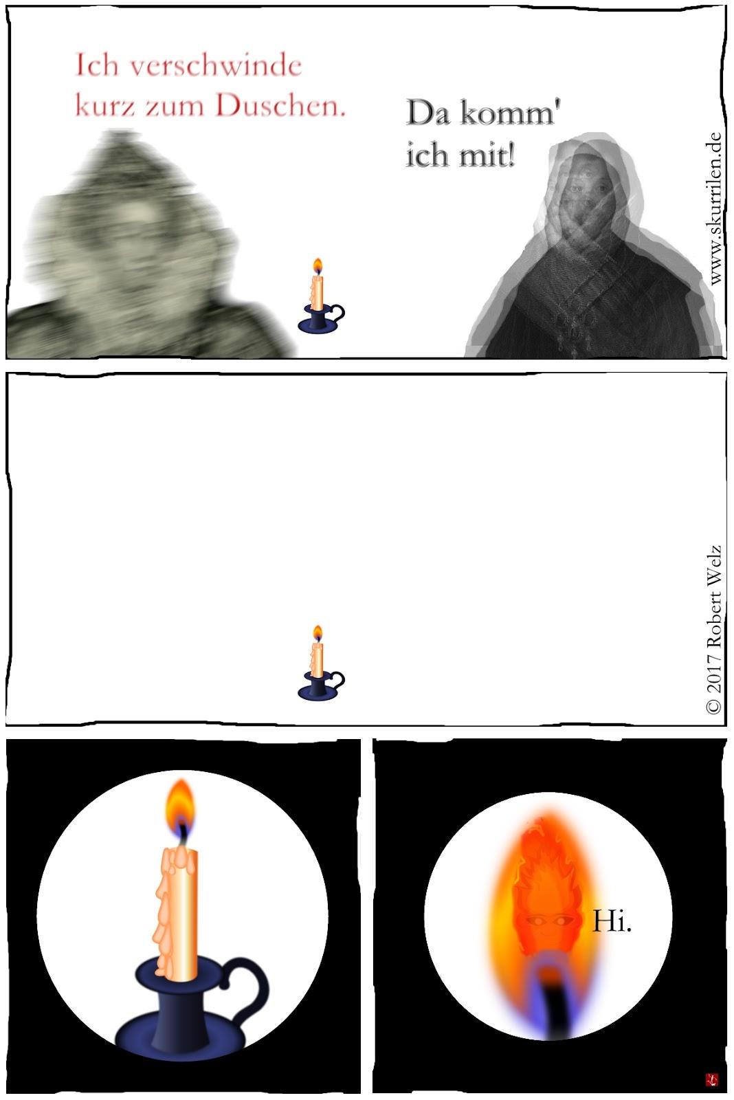 Comic Parodie Fantasy Feuerwesen Kerze komisch fantastisch Comix