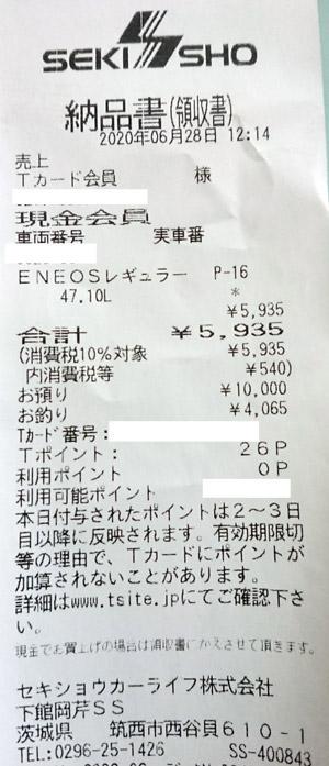 ENEOS 下館岡芹店 2020/6/28 のレシート