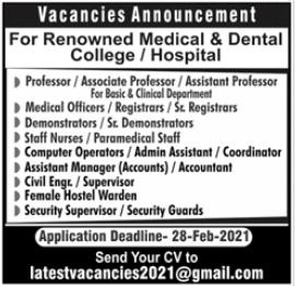Medical & Dental College & Hospital Jobs 2021 in Lahore