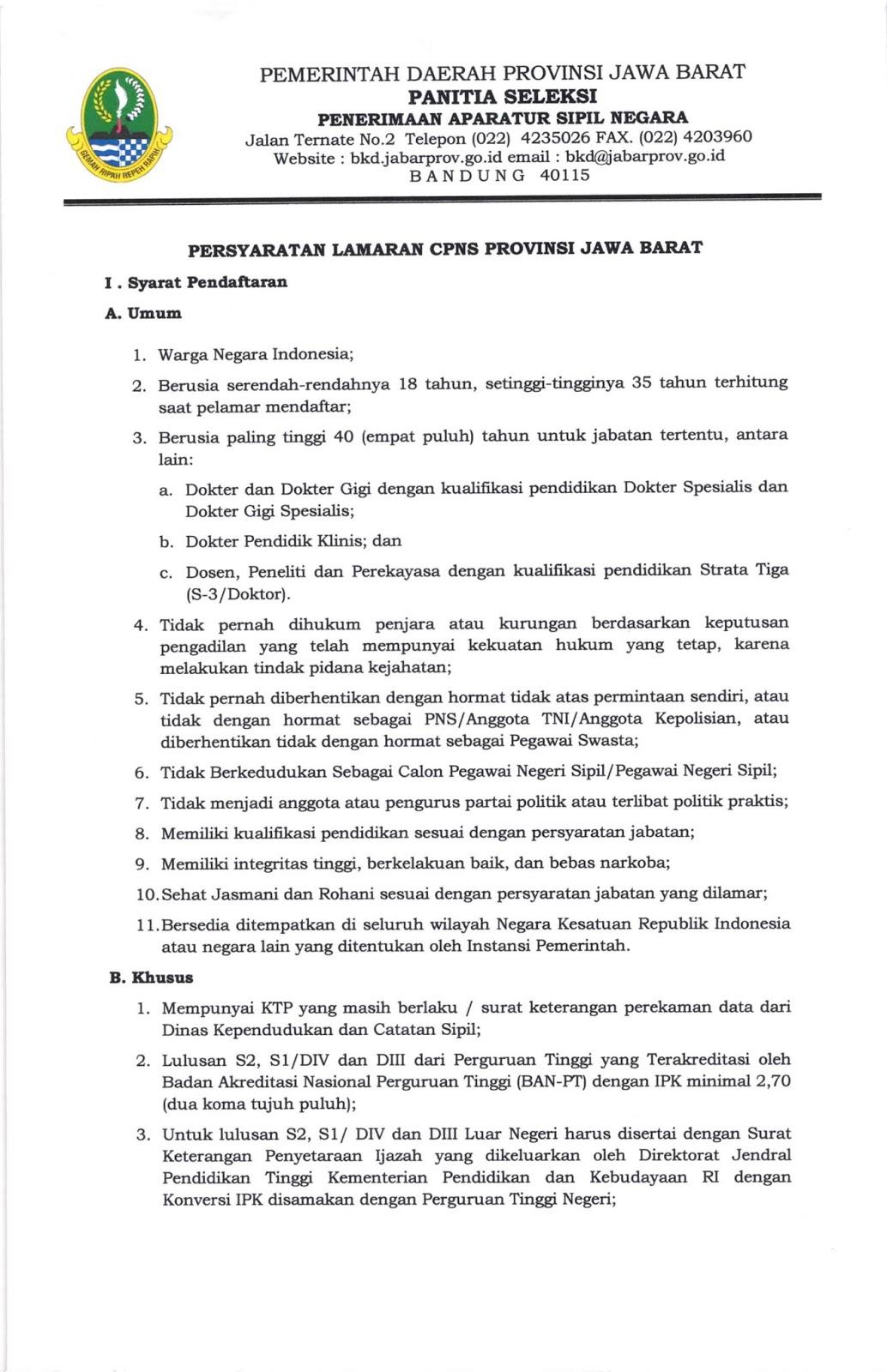 Lowongan CPNS Provinsi Jawa Barat Tahun Anggaran 2019 [1.934 Formasi]