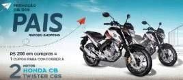 Raposo Shopping Promoção Dia dos Pais 2019 - 2 Motos Honda Twister CBS
