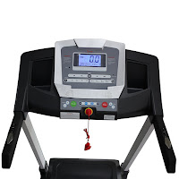 Sunny SF-T7515's console with large backlit LCD screen, displays time, speed, time, distance, calories, heart rate and incline. 12 preset interval programs, 3 countdown modes, Bluetooth, speakers with MP3 input, microphone