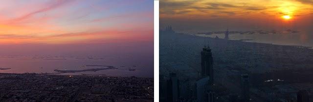 Las islas que imitan el mapa del mundo (izda.); Burj Al Arab y la Palmera Jumeirah (dcha.)