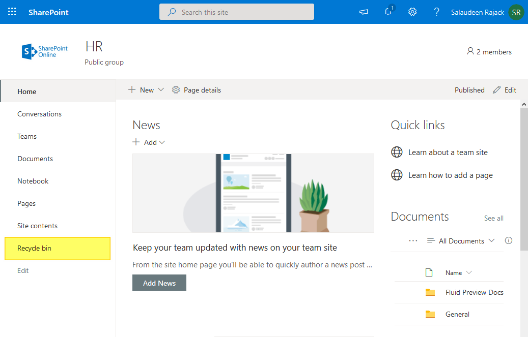 hide recycle bin in sharepoint online