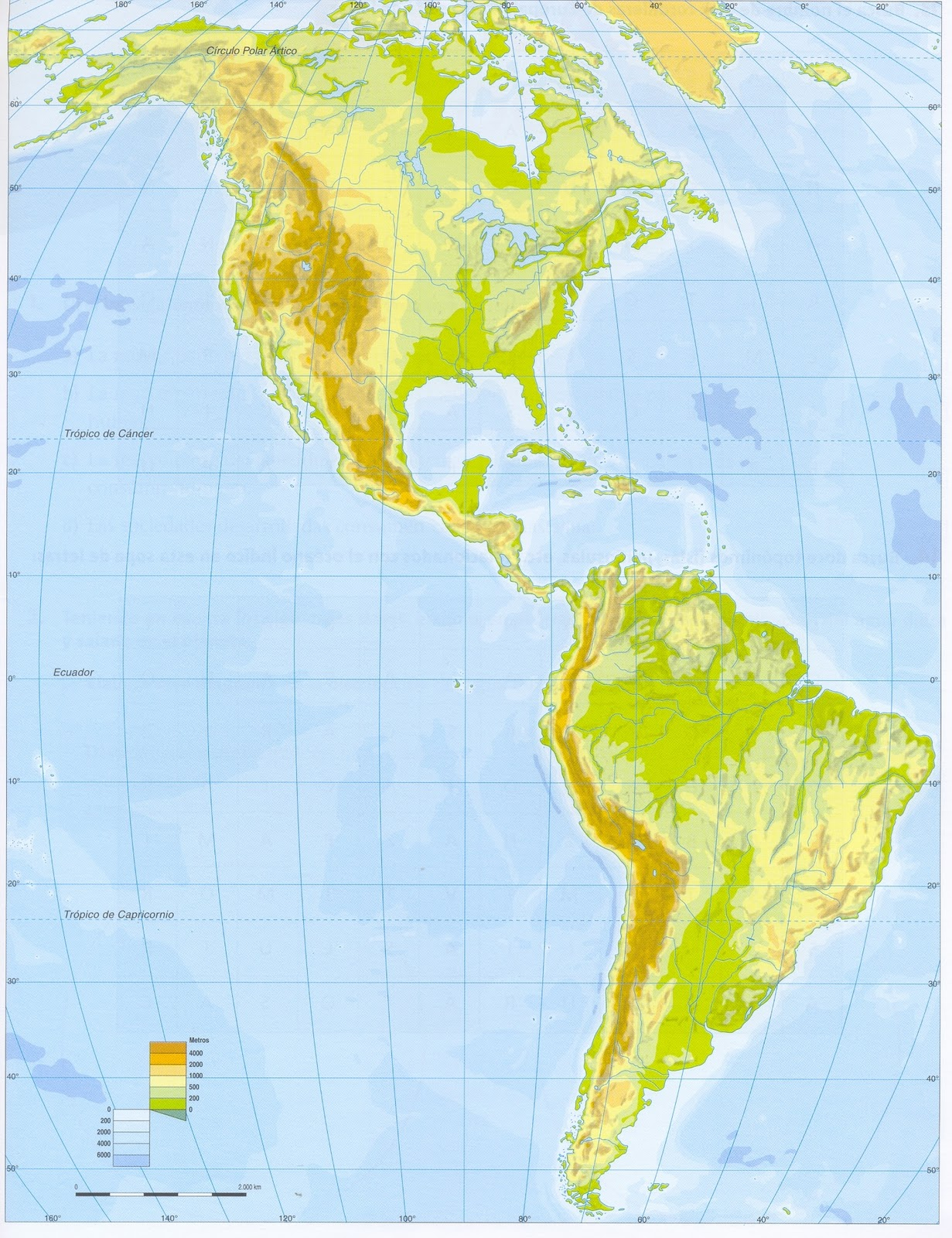 Mapa Fisico De America Mudo.Jose Angel Mapa Fisico De America