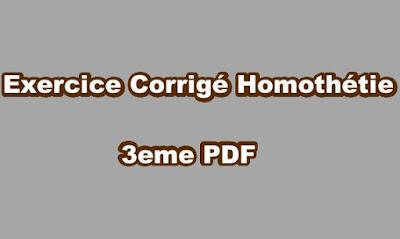 Exercice Corrigé Homothétie 3eme PDF