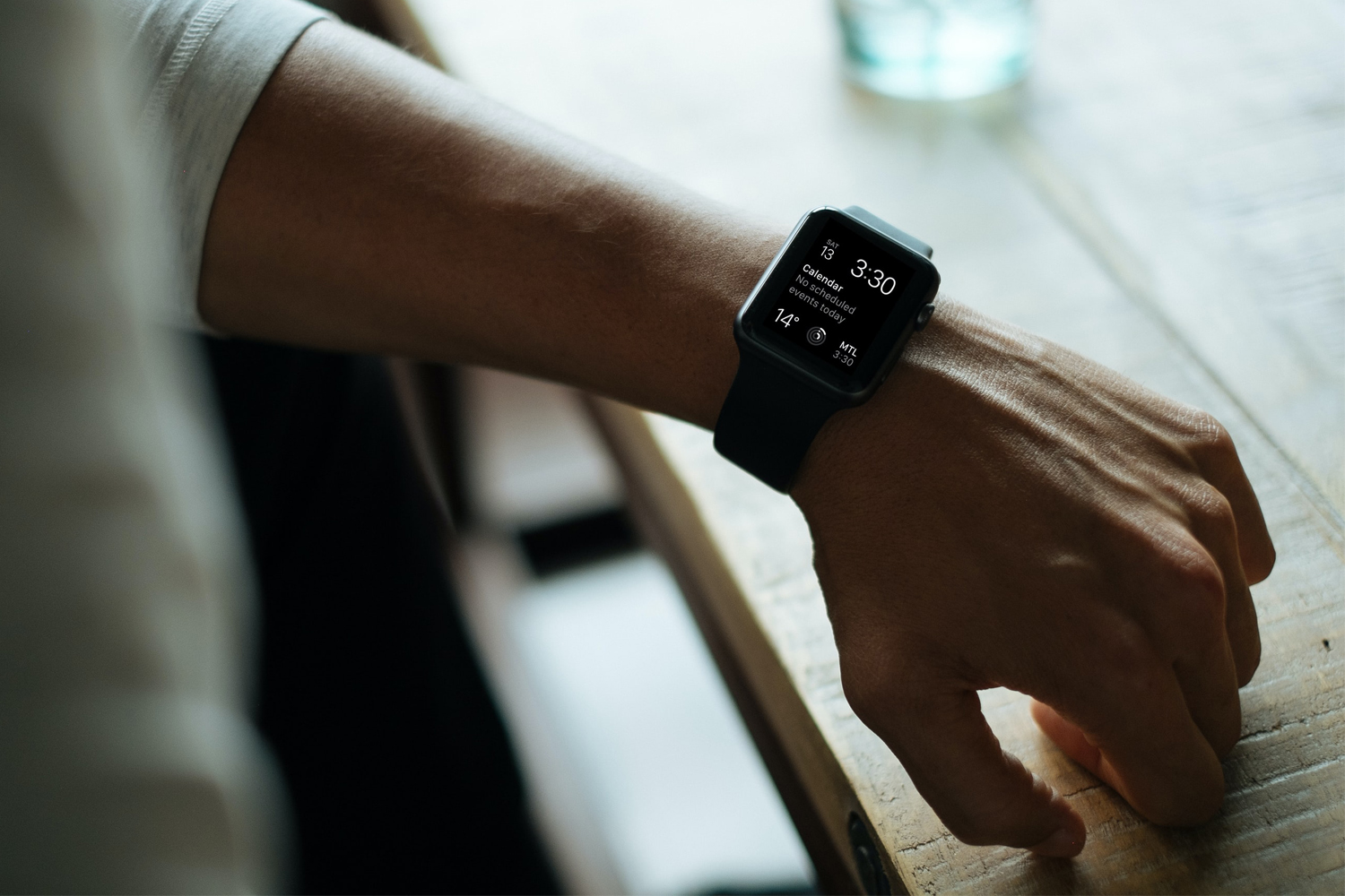 a close up picture of a hand with iwatch