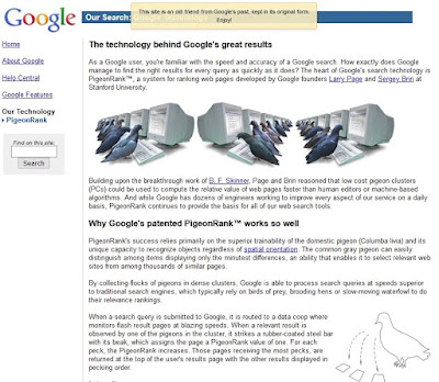 Poisson D'Avril de Google 2002 : PigeonRank