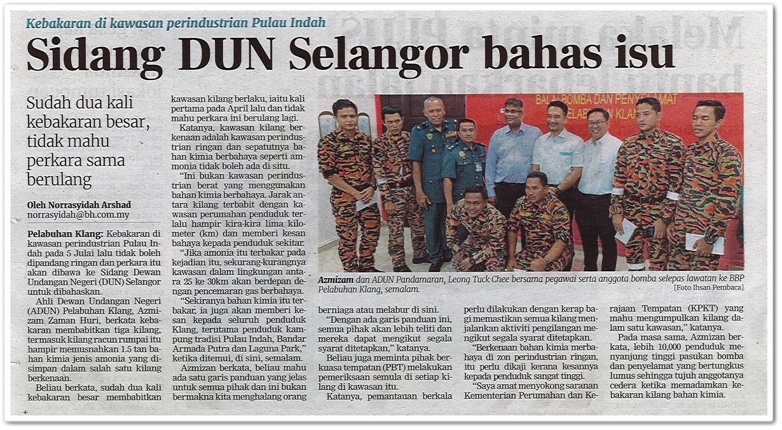 Sidang DUN Selangor bahas isu - Keratan akhbar Berita harian 13 Julai 2019