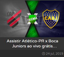 Assistir Athletico-PR x Boca Juniors ao vivo online dia 24/07/2019 às 21h30 - Copa Libertadores da América - Transmissão da SPORTV  (FUTEMAX)