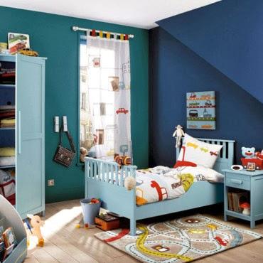 Dormitorio infantil azul verde