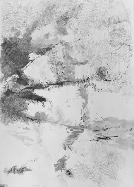 """1999 """"Ohne Titel"""" Tuche-Zeichnung von Andres Kreienbuehl"""