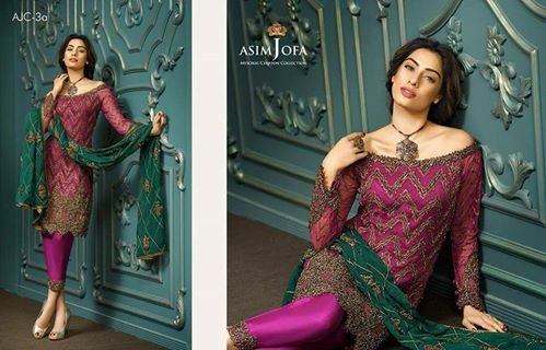 891cb8e572 Asim Jofa Eid Collection Full Chiffon Dori/Zari Work Dress Best Quality - Jiddat  Collection | Online Shopping For Women