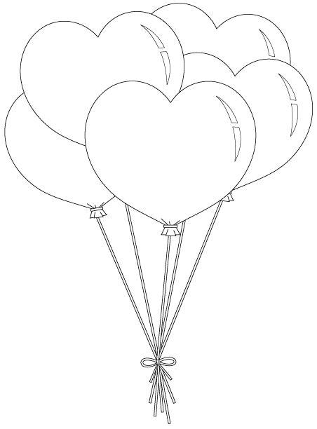 Hình tô màu quả bóng bay hình trái tim