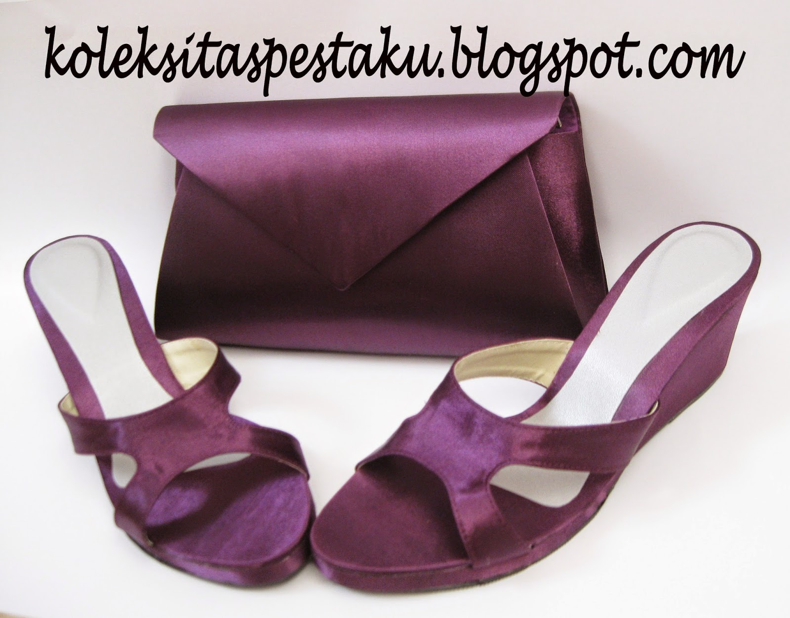 Tas Pesta Clutch Bag dan Sandal Pesta Model Wedges Polos Tanpa Payet Warna Ungu Mewah Elegant
