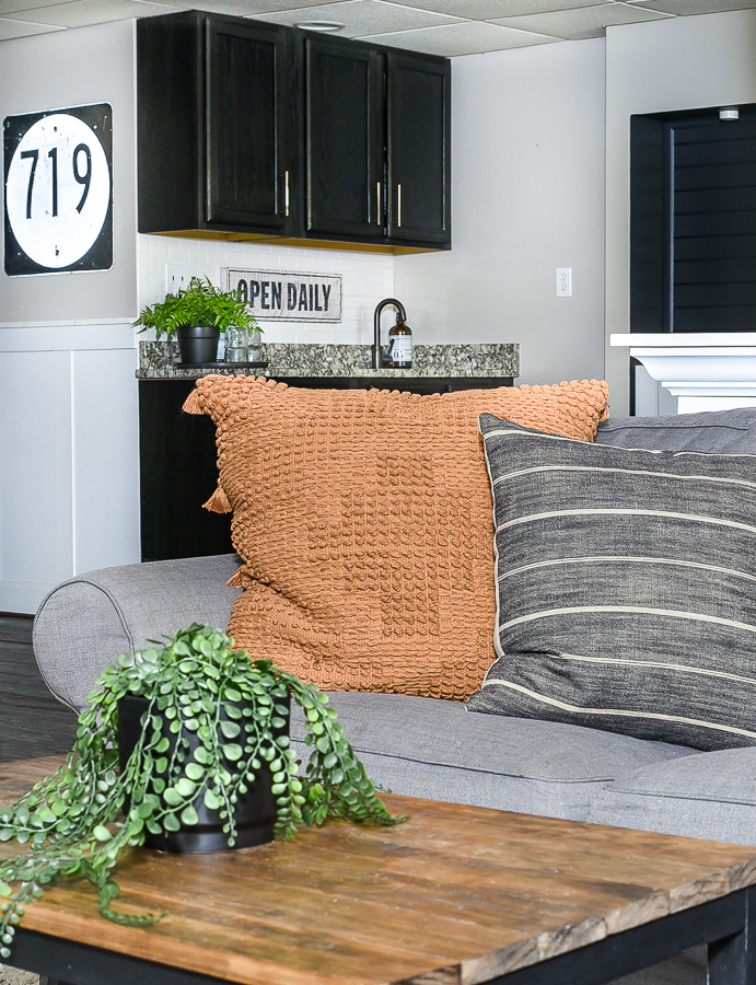Rust and charcoal gray pillows