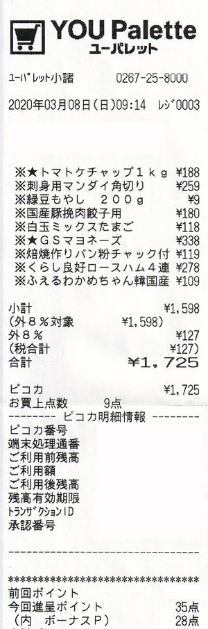 ユーパレット 小諸店 2020/3/8 のレシート