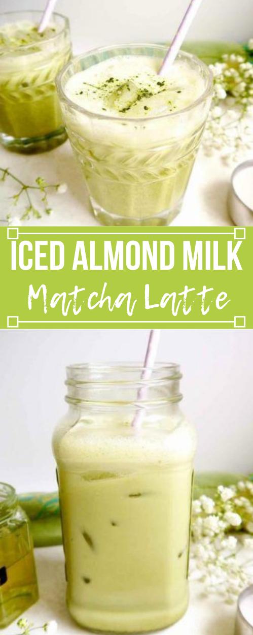 Iced Almond Milk Matcha Latte #drink #healthyrecipes #latte #matcha #milktea