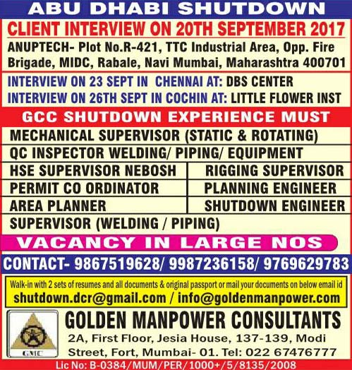 Chennai Interviews, HSE Jobs, Kochi Interviews, Mechanical Jobs, Mumbai Interviews, Oil & Gas Jobs, Piping Jobs, QA/QC Jobs, Shutdown Jobs, Welding Jobs, Gulf Jobs Walk-in Interview, Golden Manpower Consultants