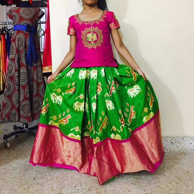 Green Ikkat Lehenga Pink Blouse Indian Dresses