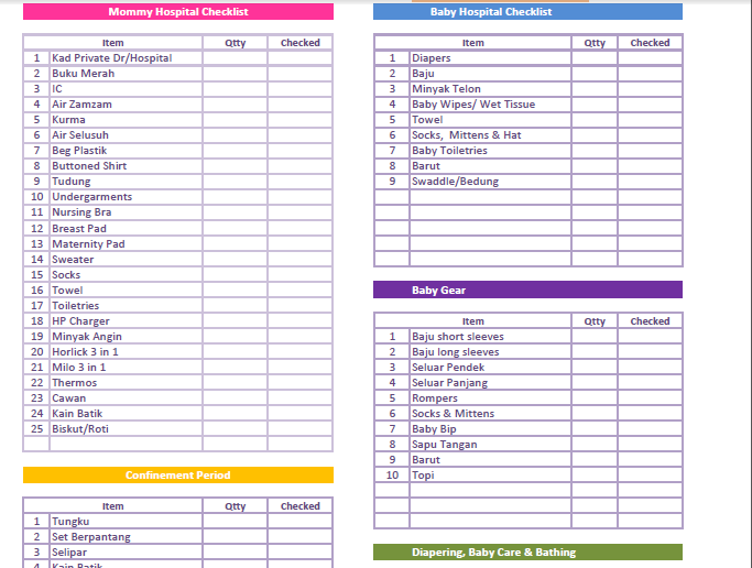 This is a photo of Refreshing Baby Checklist Printable