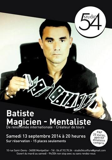 Affiche de la soirée Magie et Mentalisme au Studio 54 à Montpellier.