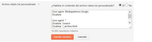 Habilitar contenido del archivo robots.txt