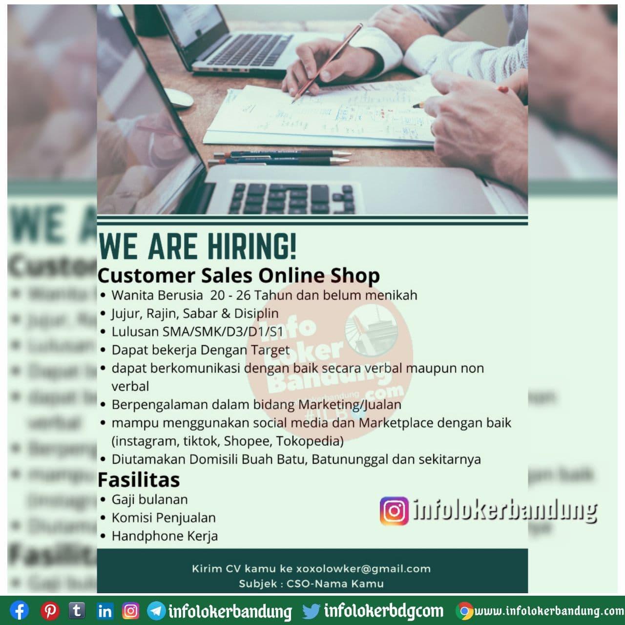 Lowongan Kerja Sales Online Shop Bandung Desember 2020