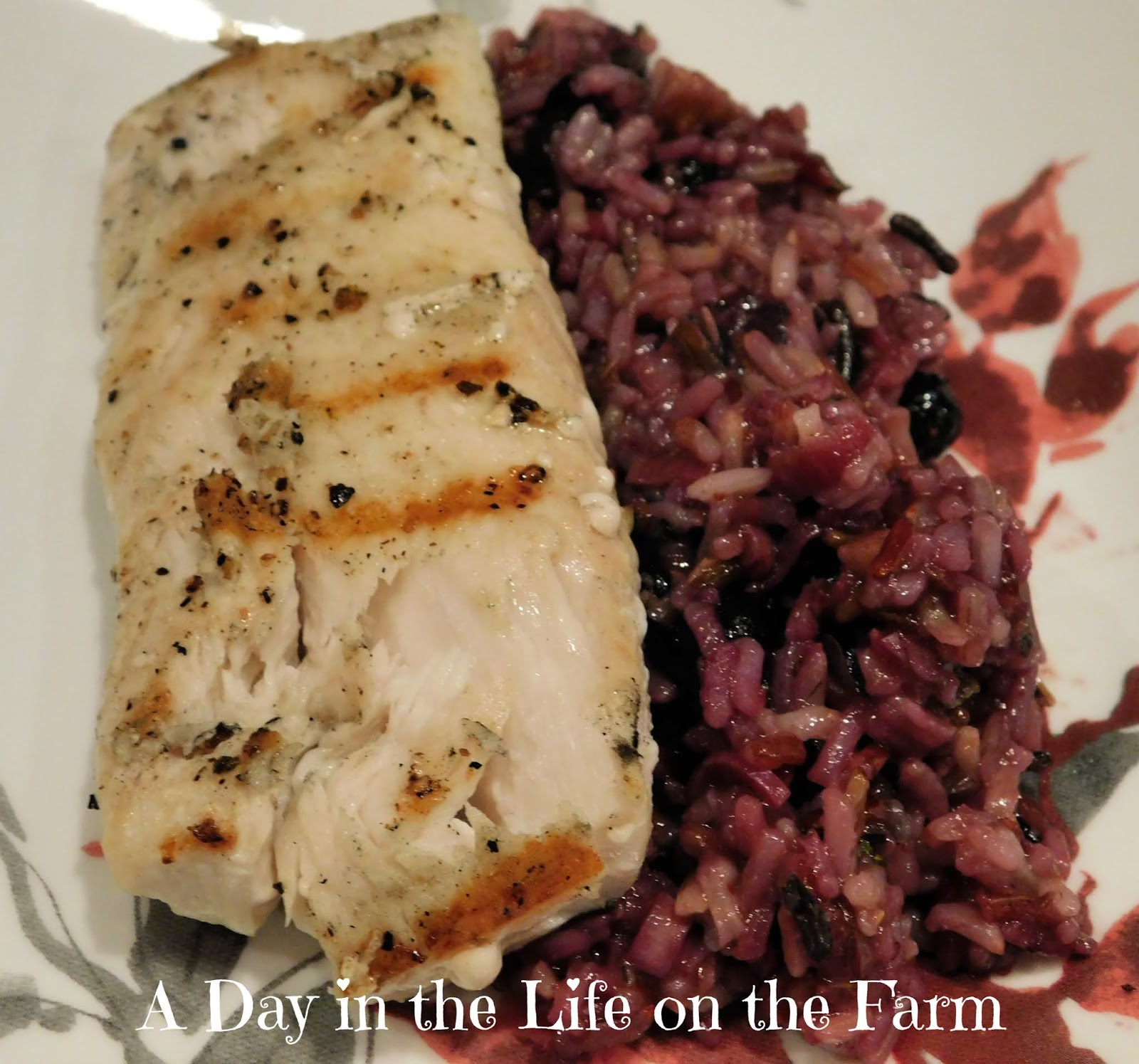 Grilled Mahi Mahi with Wild Rice Blueberry Pilaf
