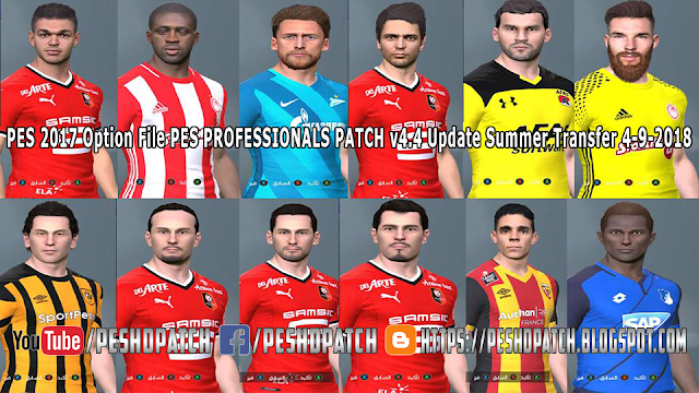 PES 2017 Option File Pes Professionals Patch v4.4 Update Summer Transfer 4-9-2018
