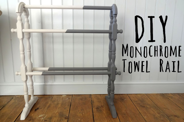 DIY monochrome towel rail
