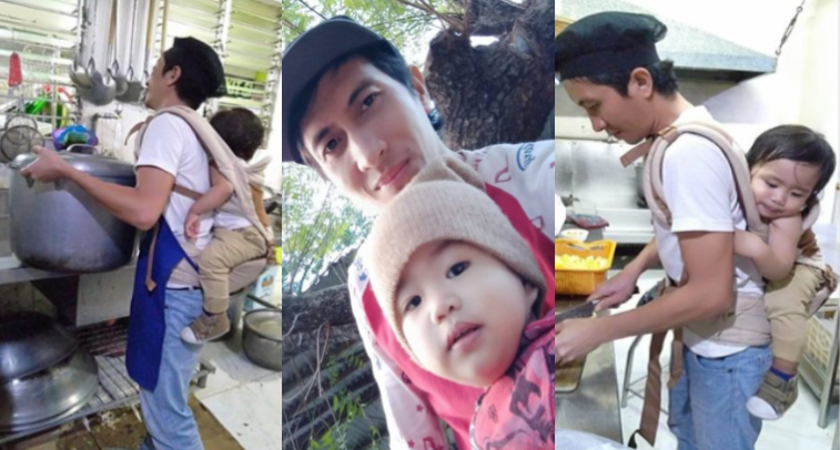 Dakilang ama, karga ang anak habang nagtatrabaho para lang may mapangbili ng gatas