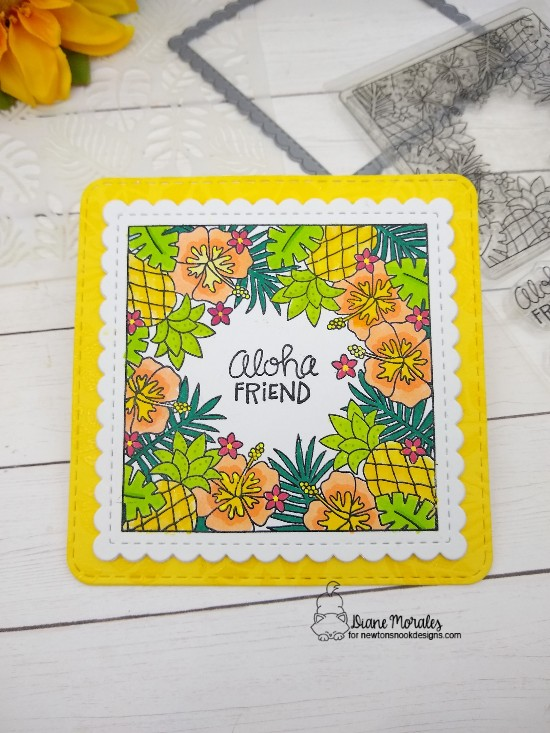 Aloha friend by Diane features Tropical Fringe, Frames Squared, and Tropical Leaves by Newton's Nook Designs; #inkypaws, #newtonsnook, #cardmaking, #hellocards