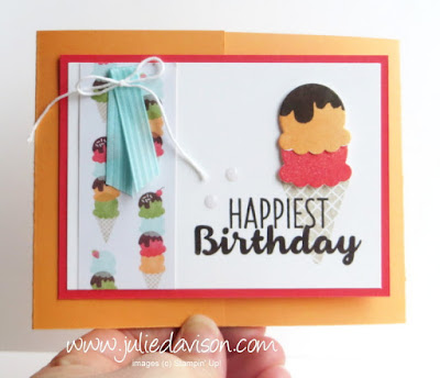 Stampin' Up! Cool Treats Birthday Gate Fold Card ~ with measurements ~ 2017 Occasions Catalog ~, www.juliedavison.com/clubs