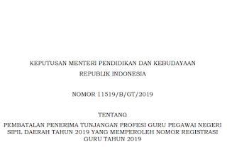 Pembatalan Penerimaan Tunjangan Profesi Guru PNS Daerah Tahun 2019 yang Memperoleh Nomor Registrasi Guru Tahun 2019