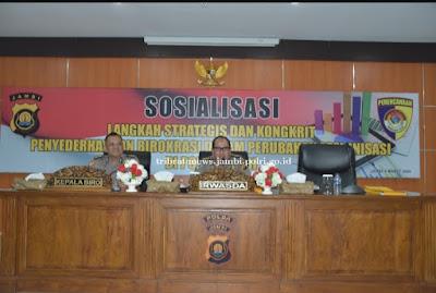 Sosialisasi Penataan Organisasi Untuk Eselon III Kebawah Dilingkungan Polda Jambi, Dibuka Oleh Irwasda Polda Jambi