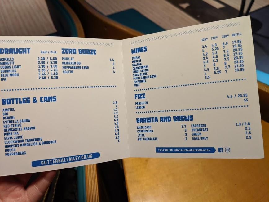 Gutterball Royal Quays Review   - drinks menu