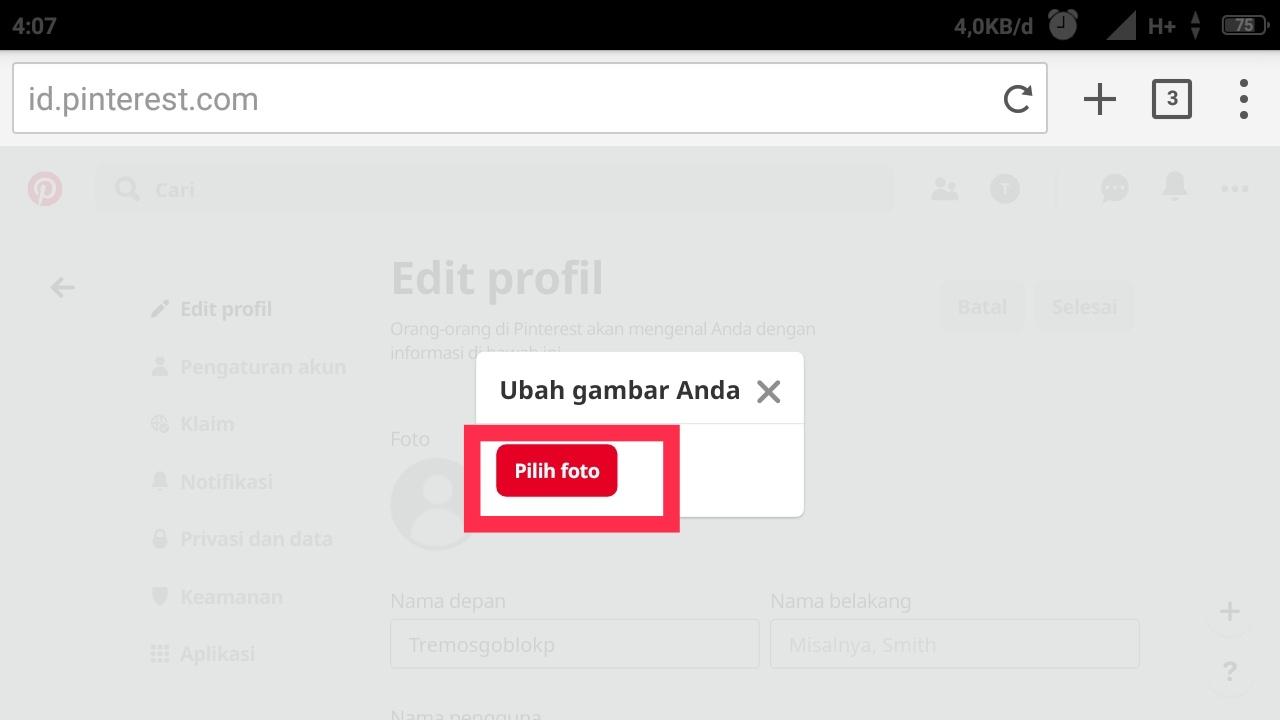Pinterest dalam Bahasa Indonesia