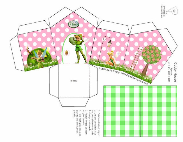 Cajas con Forma de Casa de Tinker Bell para imprimir gratis.