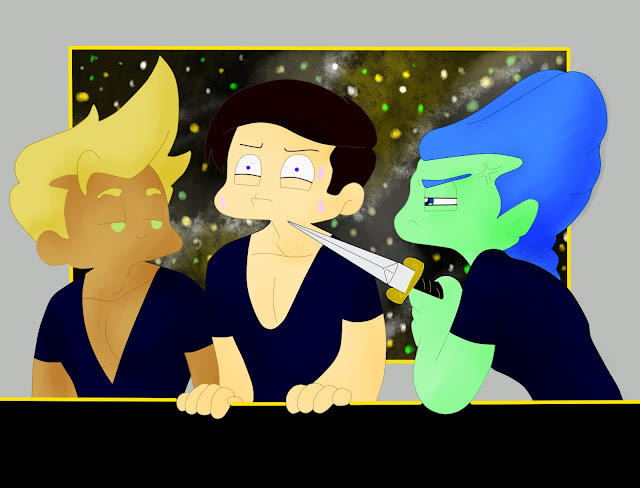 Crapeau points a dagger at a frightened Phalanges whilst Kurt looks on smugly,