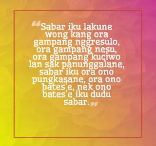 Pitutur Jawa tentang Kesabaran