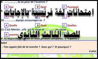 امتحانات لغة فرنسية بالإجابات للصف الثالث الثانوى ، امتحانات اللغة الفرنسية للشهادة الثانوية ، مراجعة ليلة الامتحان لغة فرنسية للصف الثالث الثانوي