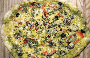 Pesto Pizza with Olives and Mushrooms