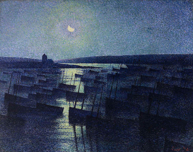 a Maximilien Luce painting of boats harbored at night in blue under moonlight
